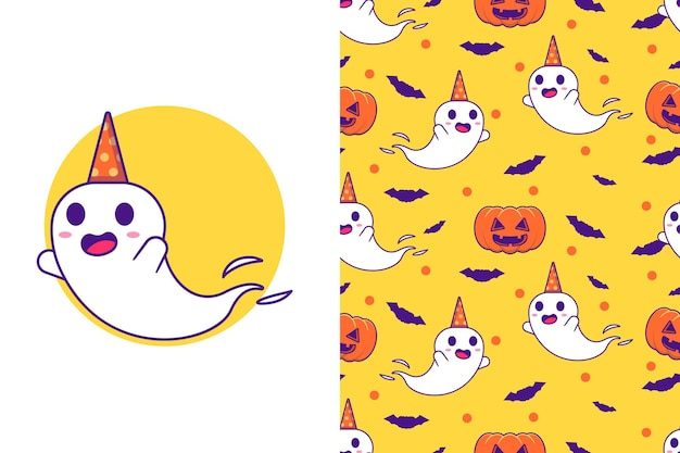Cute ghost with pumpkin happy halloween with seamless pattern