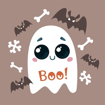 A cute ghost with a smile bats and bones vector illustration of a halloween character