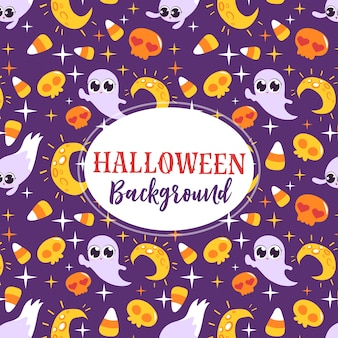 Симпатичные призраки и луна, открытка на хэллоуин