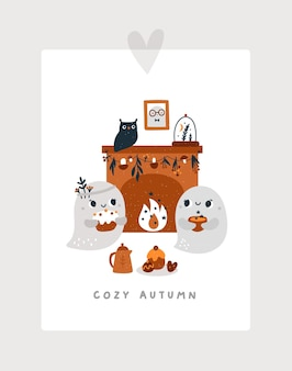 Cute ghosts are sitting near the fireplace with delicious treats and tea the haunted house