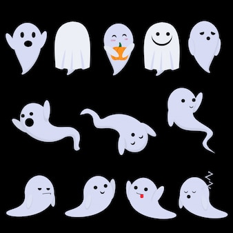 Cute ghosts have fun at the halloween party - they dance, grimace, grimace
