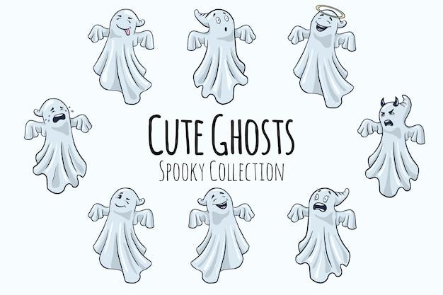 귀여운 유령 일러스트 컬렉션입니다. 만화 스타일. 스티커, 지문, 초대장 및 인사말 디자인을 위한 손으로 그린 할로윈 재미있는 유령입니다. 프리미엄 벡터