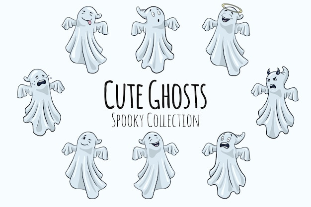 Cute ghosts illustrations collection. cartoon style. hand drawn halloween funny spooks set for stickers, prints, invitations and greeting design. premium vector