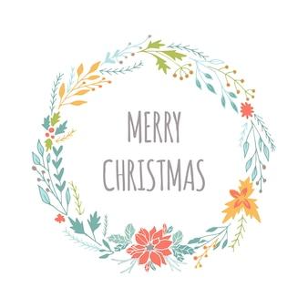 화환과 크리스마스 글자가 있는 귀여운 선물 카드. 견적, 티셔츠 디자인 또는 가정 장식 요소가 있는 포스터로 사용할 수 있습니다. 벡터 타이포그래피. 쉽게 편집 가능한 템플릿입니다.