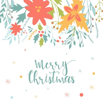 Cute gift cards and hand drawn christmas lettering. can be used as poster with quote, t-shirt design or home decor element. vector typography. easy editable template.