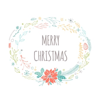 화환, 선물, 손으로 그린 크리스마스 글자가 있는 귀여운 선물 카드. 견적, 티셔츠 디자인 또는 가정 장식 요소가 있는 포스터로 사용할 수 있습니다. 벡터 타이포그래피. 쉽게 편집 가능한 템플릿입니다.
