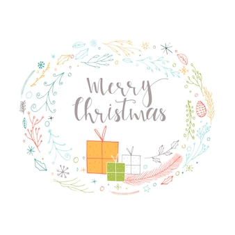 Cute gift cards with wreath, presents and hand drawn christmas lettering. can be used as poster with quote, t-shirt design or home decor element. vector typography. easy editable template.