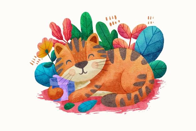 수채화와 귀여운 선물 고양이 디자인 일러스트 레이션