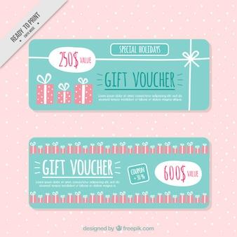 Cute gift coupons Premium Vector