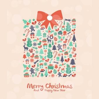 Симпатичные подарок, сделанный из рождественских элементов