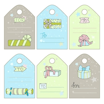 Cute gift tags with cartoon doodle gift boxes