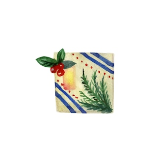 Cute giftbox  with twigs and berries watercolor illustration