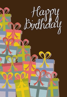 Cute gifts with brown style vector illustration