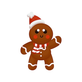 Cute ginger bread character with scarf and hat