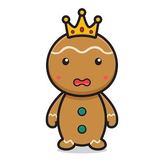 Cute gingerbread cartoon character wear crown