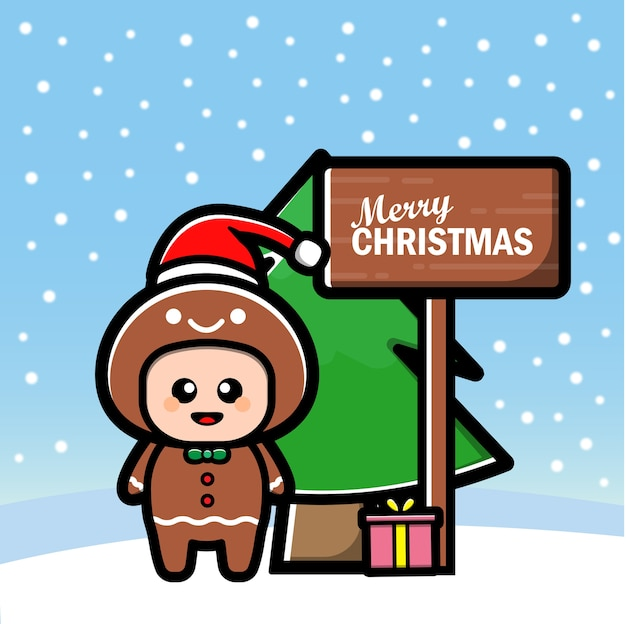 Cute gingerbread cartoon with tree and gift