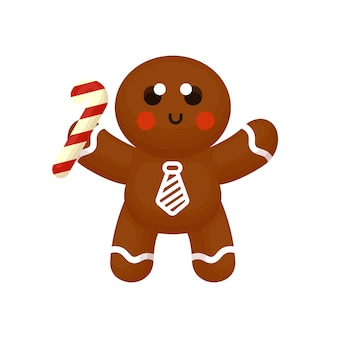 Cute gingerbread character holding candy stick