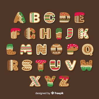 Cute gingerbread christmas alphabet