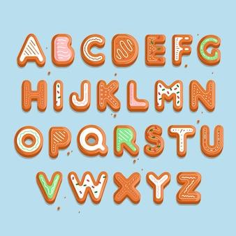 かわいいジンジャーブレッドのクリスマスのアルファベット