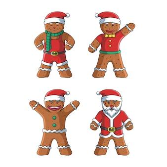 Симпатичные имбирные пряники рождественские персонажи иллюстрации