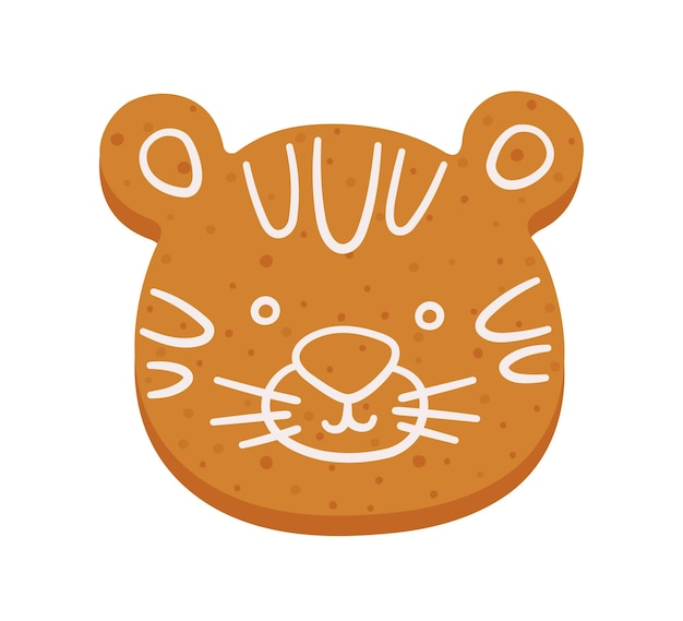 Cute gingerbread cookie in shape of tiger christmas or new year cartoon ginger cookie