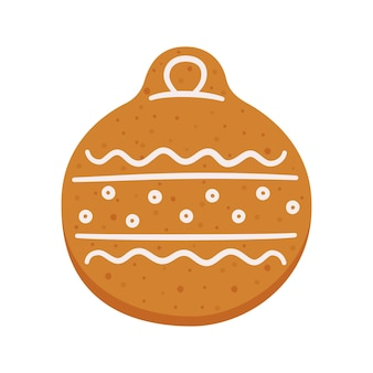 Cute gingerbread cookies in the shape of a christmas tree ball