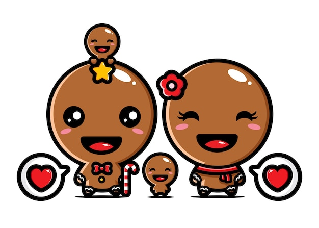 Cute gingerbread family vector design