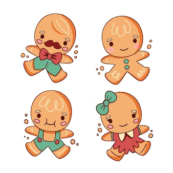 Cute gingerbread man character cookies hand drawn