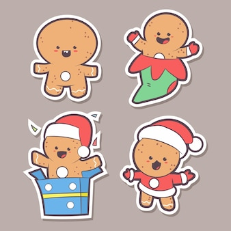 Cute gingerbread man characters cartoon set isolated on background