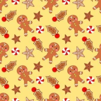 Cute gingerbread man seamless pattern.