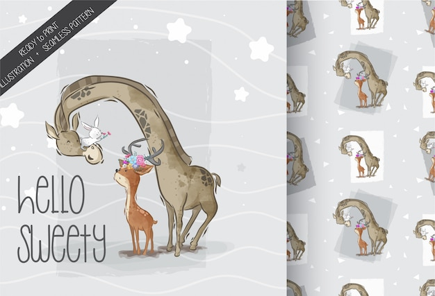 Cute girafe with lovely deer seamless pattern