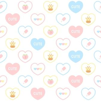 かわいいキリンとパステルハートのシームレスパターン