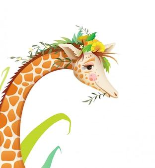 花と自然のかわいいキリン動物の肖像画。子供のための手描き漫画、tシャツやポスタープリントデザイン。孤立した水彩風のリアルな動物の顔のイラスト。