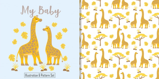 Cute giraffe birthday card hand drawn seamless pattern