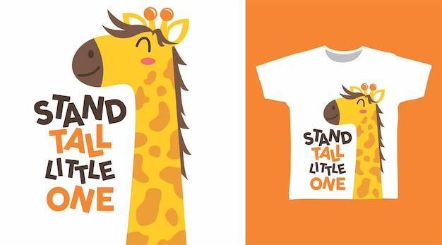Симпатичный жираф мультяшный дизайн футболки