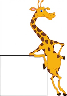 Cute giraffe cartoon with blank sign
