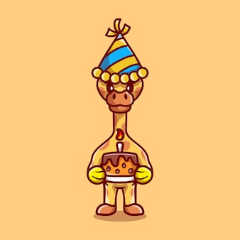 Cute giraffe celebrating happy new year or birthday