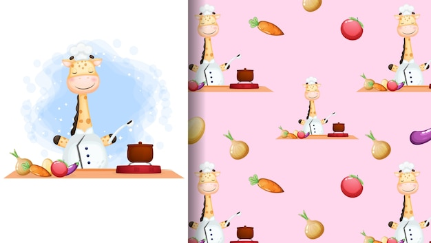 Симпатичный жираф-шеф-повар счастливый улыбающийся кулинария мультипликационный персонаж постер и бесшовный фон