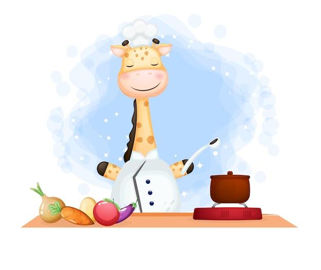 Симпатичный жираф-повар счастливой улыбкой готовит на кухне мультипликационный персонаж