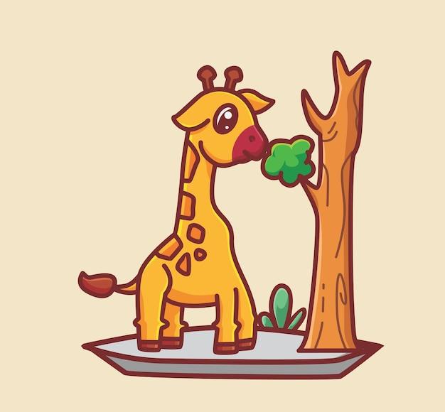 잎을 먹는 귀여운 기린. 만화 동물 식품 개념 격리 된 그림입니다. 스티커 아이콘 디자인 프리미엄 로고 벡터에 적합한 플랫 스타일. 마스코트 캐릭터