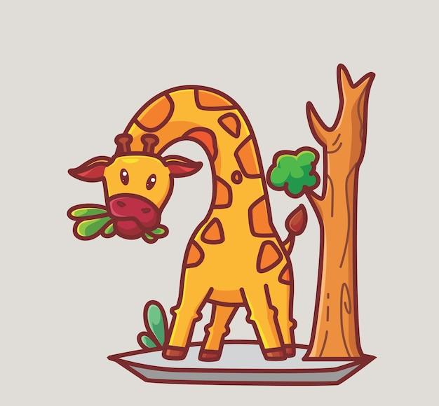 나무에서 잎을 먹는 귀여운 기린. 만화 동물 식품 개념 격리 된 그림입니다. 스티커 아이콘 디자인 프리미엄 로고 벡터에 적합한 플랫 스타일. 마스코트 캐릭터