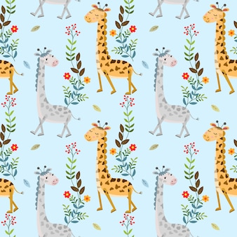 Cute giraffe and flowers seamless pattern for fabric textile wallpaper.