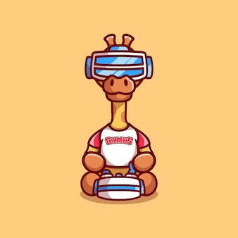 Cute giraffe gamer playing game with virtual reality headset