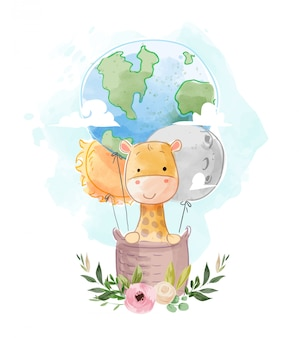 Cute giraffe on globe and star hot air balloon