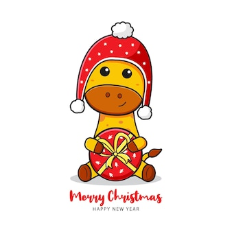Cute giraffe holding present greeting merry christmas and happy new year cartoon doodle card illustration flat cartoon style
