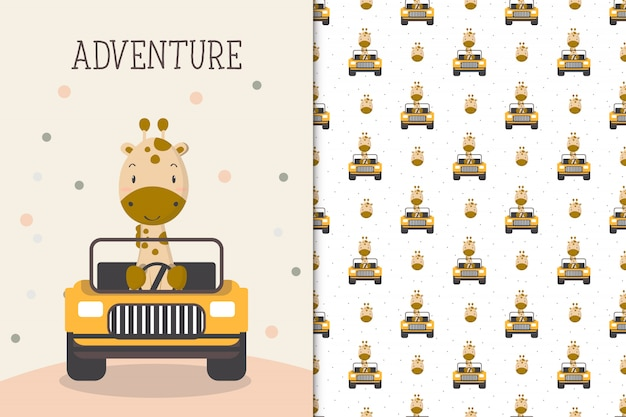 Cute giraffe illustration driving a car with seamless pattern in the white backdrop