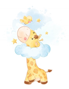 Cute giraffe and little bird illustration