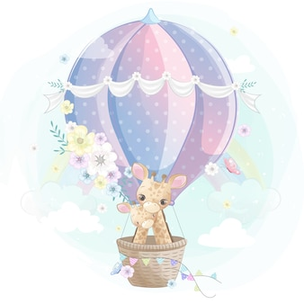 Cute giraffe mother and baby flying with air balloon