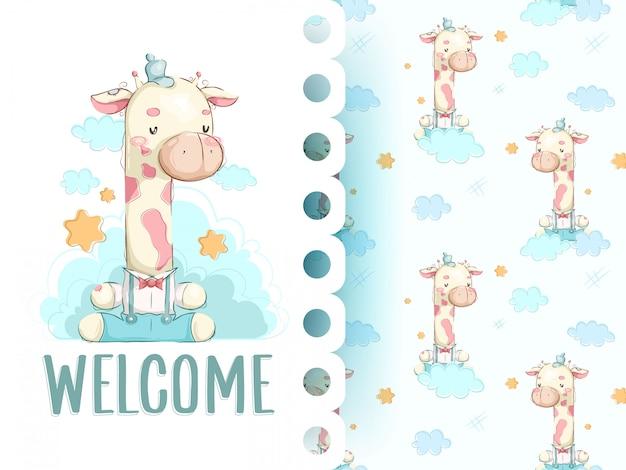 Cute giraffe pattern set, hand draw illustration