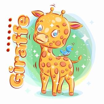 Cute giraffe play with blue bird. colorful cartoon illustration.